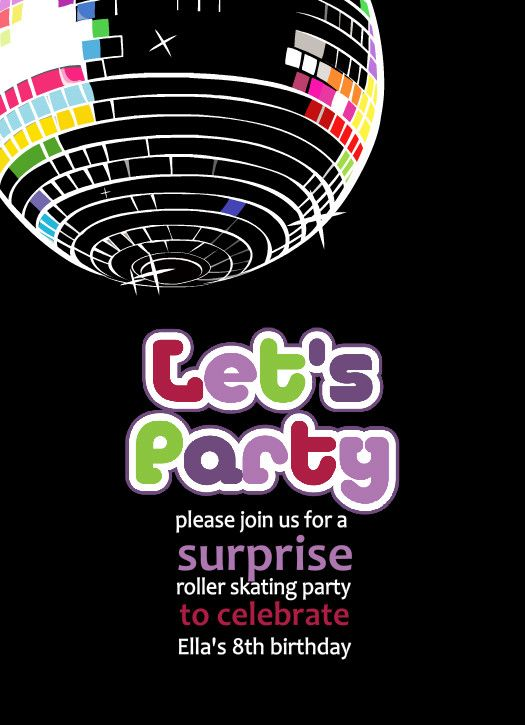 Free Printable Disco Party Invitations Templates | 80s ...