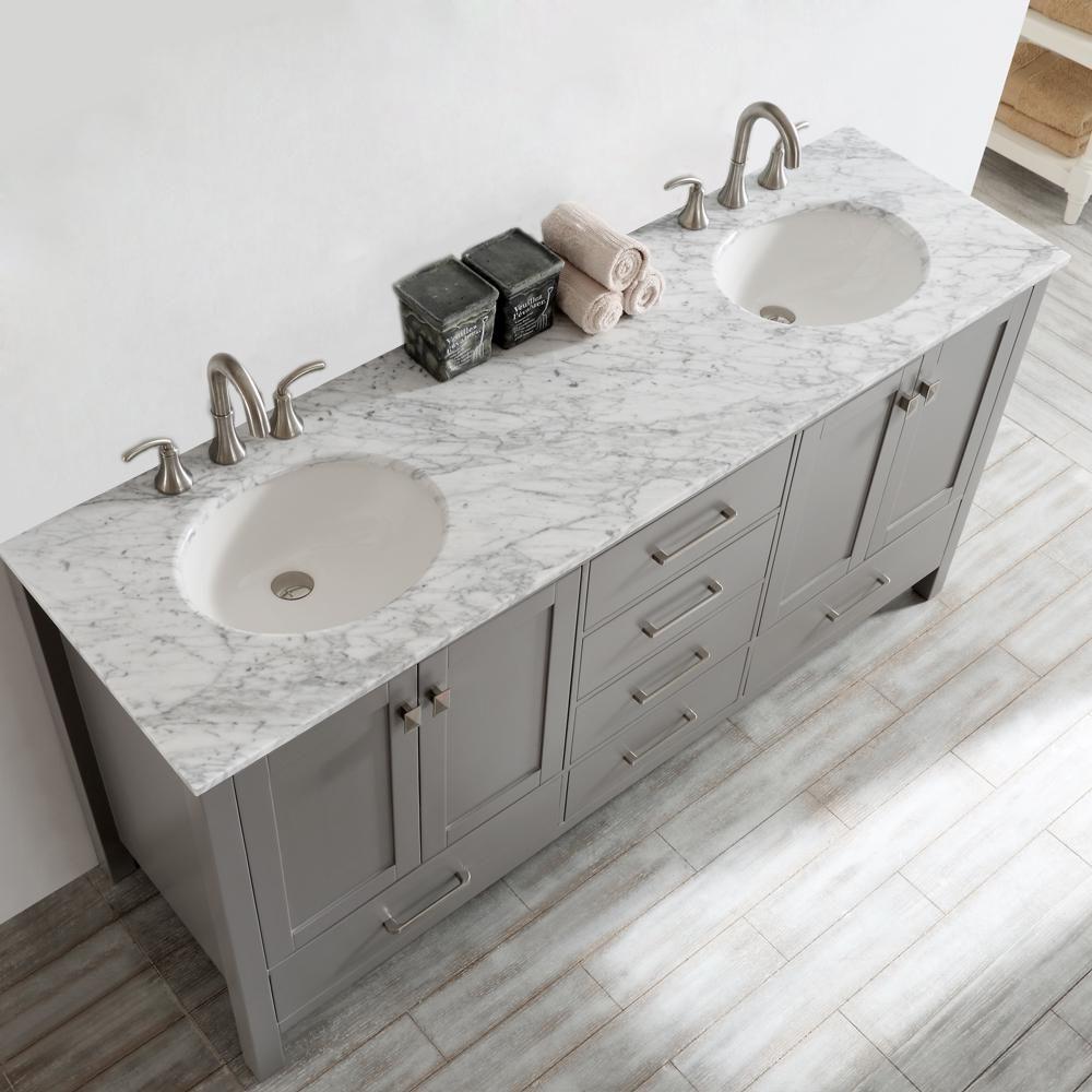 Roswell Gela 72 In W X 22 In D X 35 In H Vanity In Grey With Marble Vanity Top In White With Basin 723072 Gr Ca Nm Double Vanity Bathroom Bathroom Design Bathroom Vanity