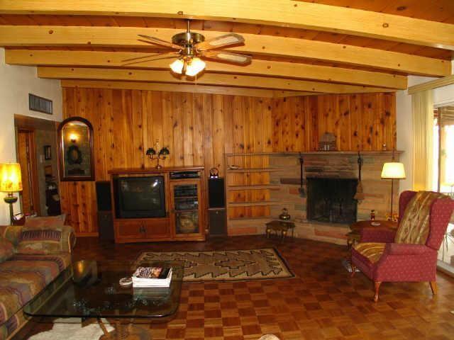 Vintage Old Original 1955 Wood Paneling Family Room Stone Fireplace Phoenix Arizona Home