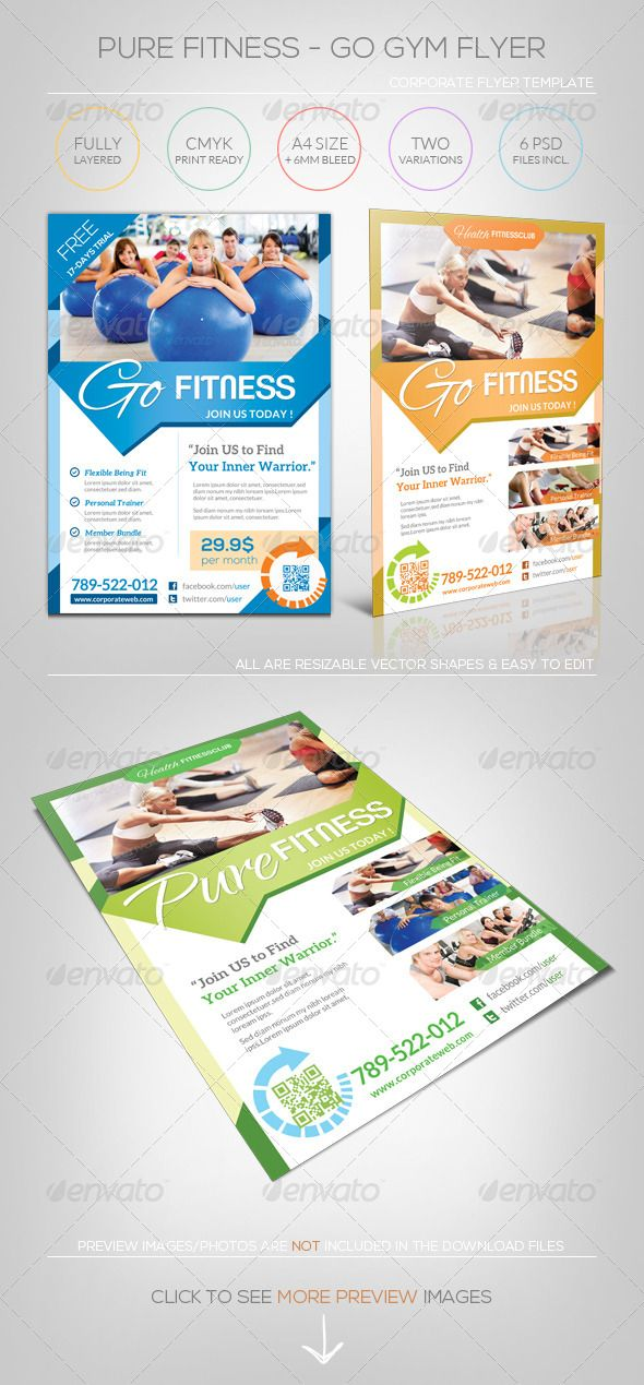 Pure Fitness  Go Gym  Flyer Template  Flyer Template Gym And