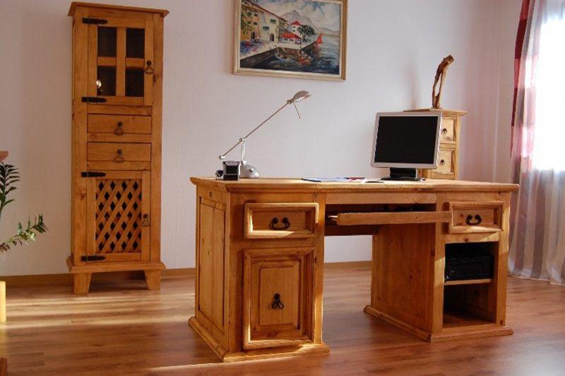 Schreibtisch El-Paso Pinie massiv Holz Computertisch Bürotisch Büro ...
