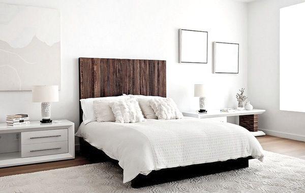 White Bedroom Wooden Headboard Home Bedroom Home Contemporary Bedroom