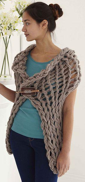 Simple Gillet Wrap Arm Knitting Pattern Vest Arm