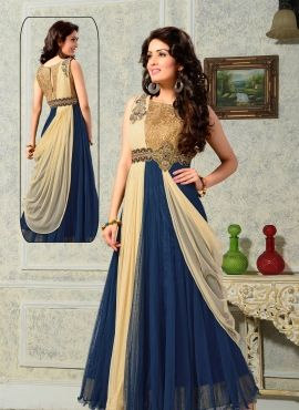 Floor length Indian designer evening gown in Tiffany Blue ...