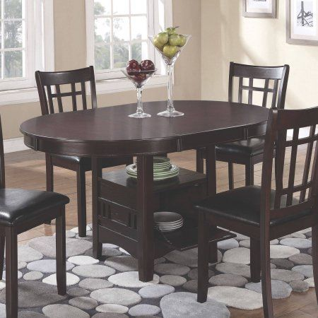 Coaster Lavon Dining Table With Storage In Espresso Walmart Com Dining Table With Storage Dining Table Rectangular Dining Table