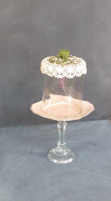Lacey Jeweled Cloche Glass China Plate Stand | Peach Small Pedastel Glass Dome ( & Lacey Jeweled Cloche Glass China Plate Stand | Peach Small Pedestel ...