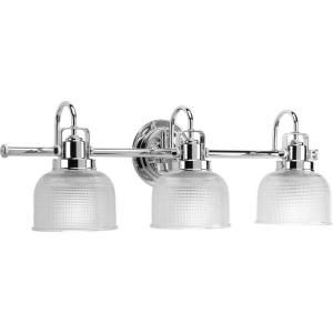 Progress Lighting Archie Collection 3 Light Chrome Vanity Light With Clear  Polished Glass Shades P2992 15   The Home Depot