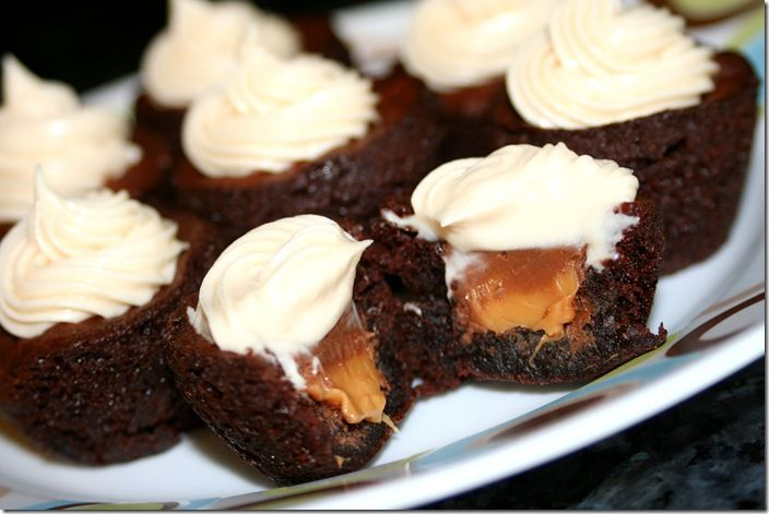 Rolo Brownie Bites with Caramel Cream Cheese Frosting!