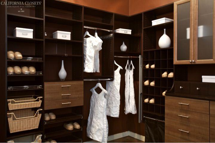 Venetian Wenge Closet With Roman Walnut Fronts   Austin Showroom |  Www.texashomeorganizationblog.com