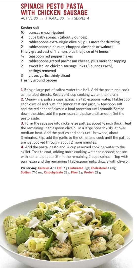Food Network Magazine Spinach Pesto Pasta W Checken Sausage Yum