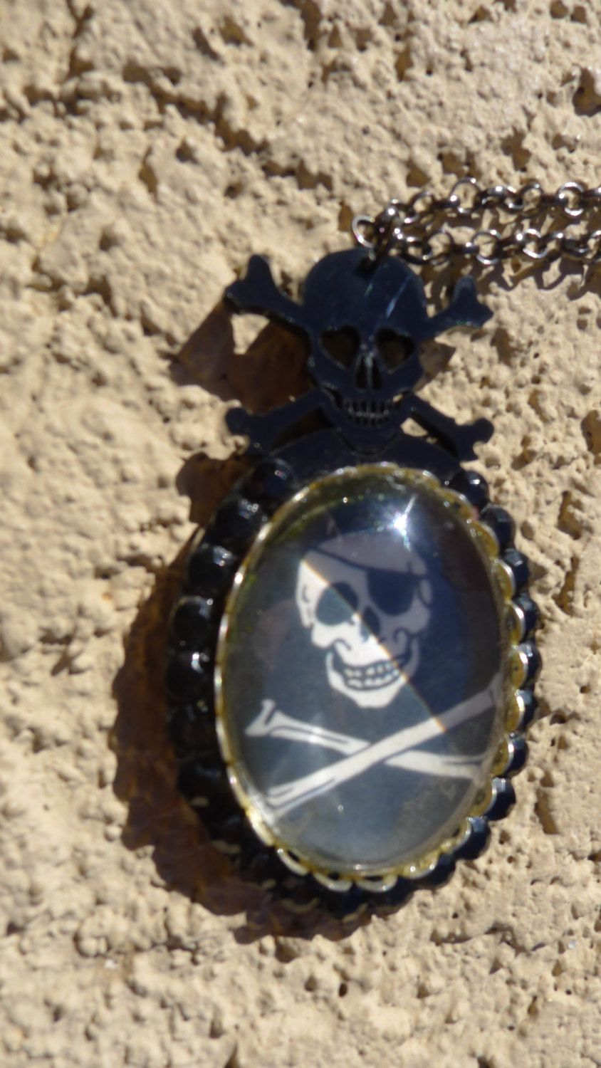 Skull Pendant Black Swarovski Crystals Skull Crossed Bones Pirate Cameo Chain Renaissance Faire Gothic Rockabilly Punk Biker ..... by princessmadisonparis on Etsy