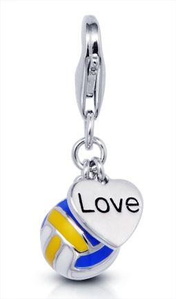 Love Volleyball Charm Vinqui Sports Jewelry Volleyball Accessories Sports Jewelry Volleyball Jewelry