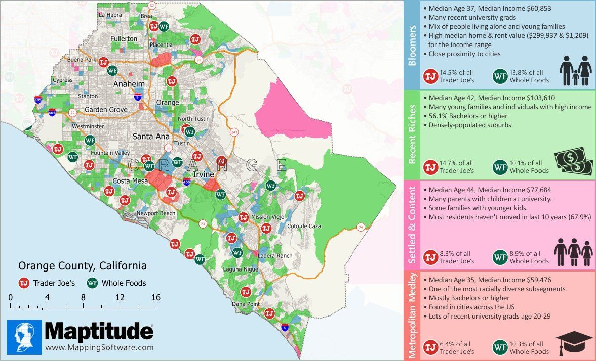 Maptitude mapping software infographic of trader joes vs