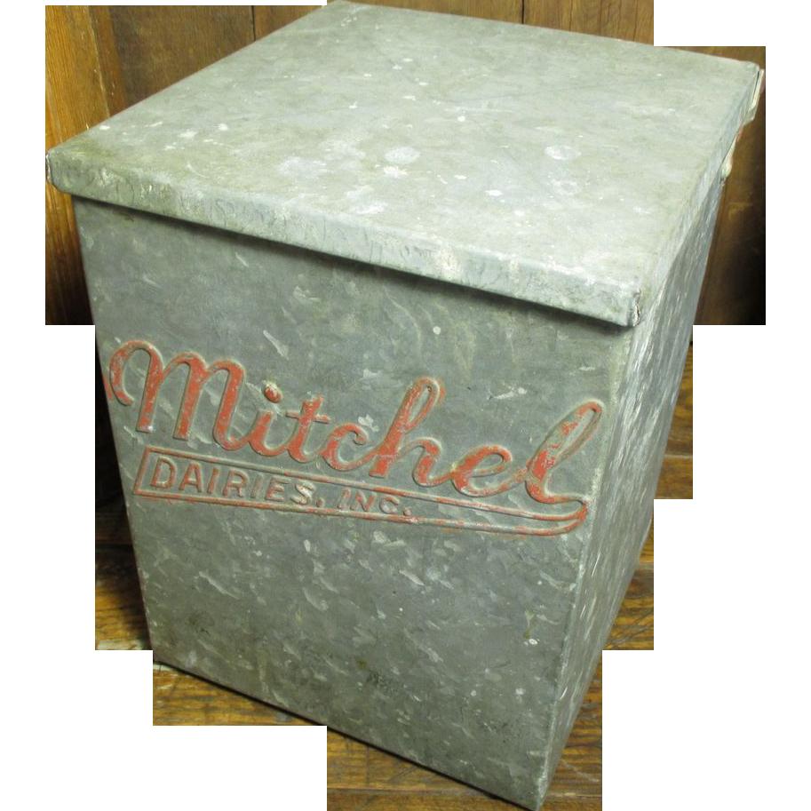 Old Vintage Galvanized Metal Milk Box Mitchel Dairies Inc Advertising Milk Box Galvanized Metal Milk