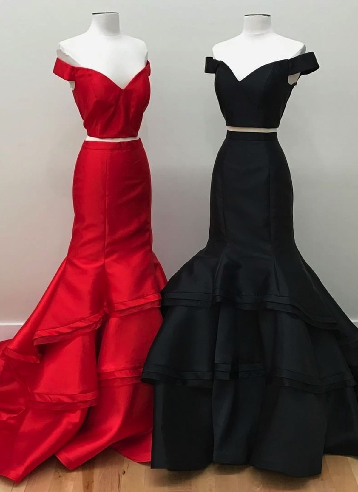 Cute spring strapless multicolor satin two pieces off shoulder lace