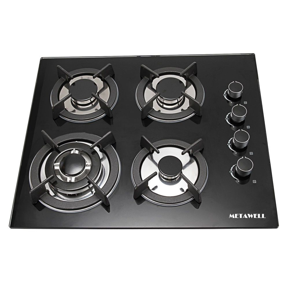 Metawell 23 6 Black Tempered Glass Panel Gas Cooktop Stove Cook Top 4burner Wok Cook Top Stove Stove Gas Cooktop