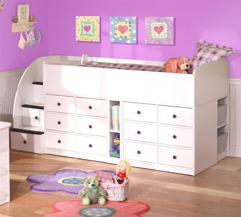 kid 39 s low profile captain 39 s loft bed w 12 drawers sierra kids s lofts and drawers. Black Bedroom Furniture Sets. Home Design Ideas