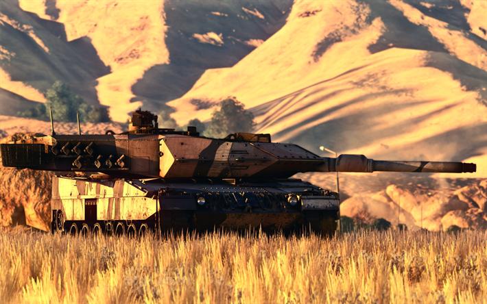 Download wallpapers Leopard 2A7, German battle tank, modern