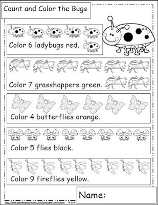 Bugs and Insects, Math worksheets for kindergarten, Bug themed math ...