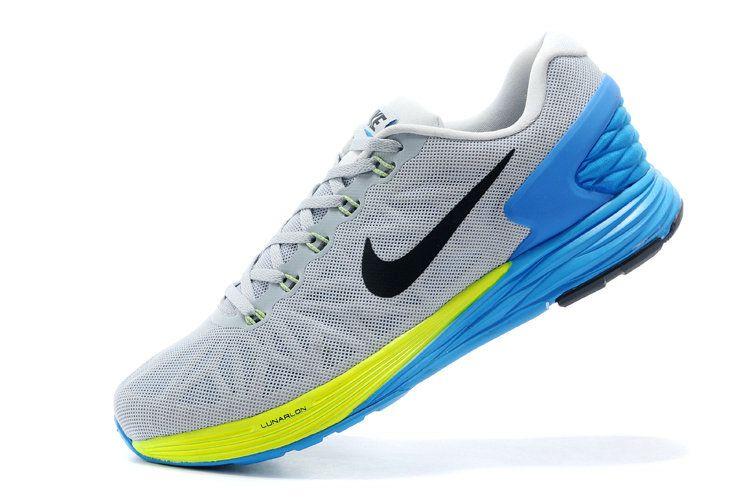 Men Boy Nike LunarGlide 6 Wolf Grey Magnet Volt Photo Blue