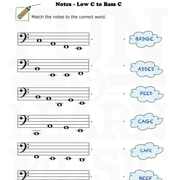 Bass Clef Worksheets Fun And Learn Music Music