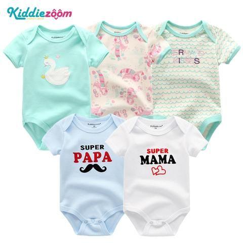 34ad828e2c8b 5PCS Set Newborn Baby Rompers Boy Playsuit Clothes 100% Cotton ...