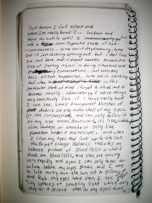 page of one of kurt cobain's journals.