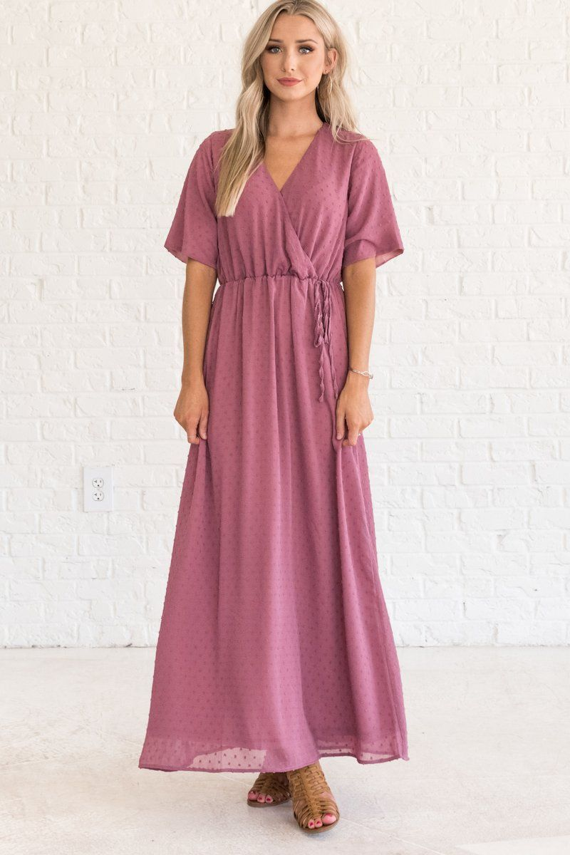 7d4e737015 Mauve Pink Purple Maternity Friendly Maxi Dresses with Faux Wrap Detail