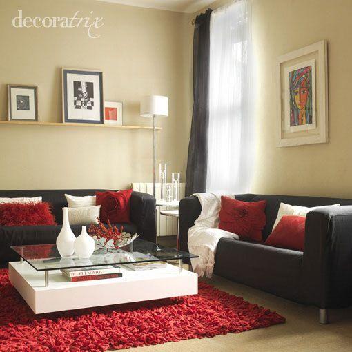 Como Decorar Con Un Sofá Negro. Red Living Room ...