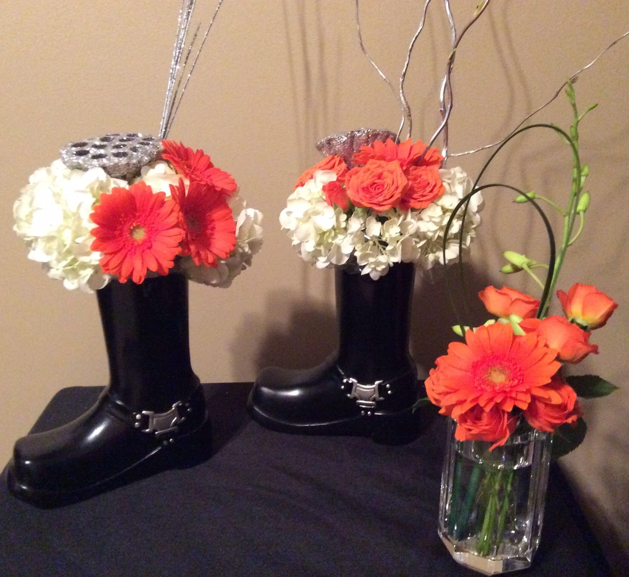 Harley davidson theme flowers orange silver floral designs in harley davidson theme flowers orange silver floral designs in black boot vase containers reviewsmspy