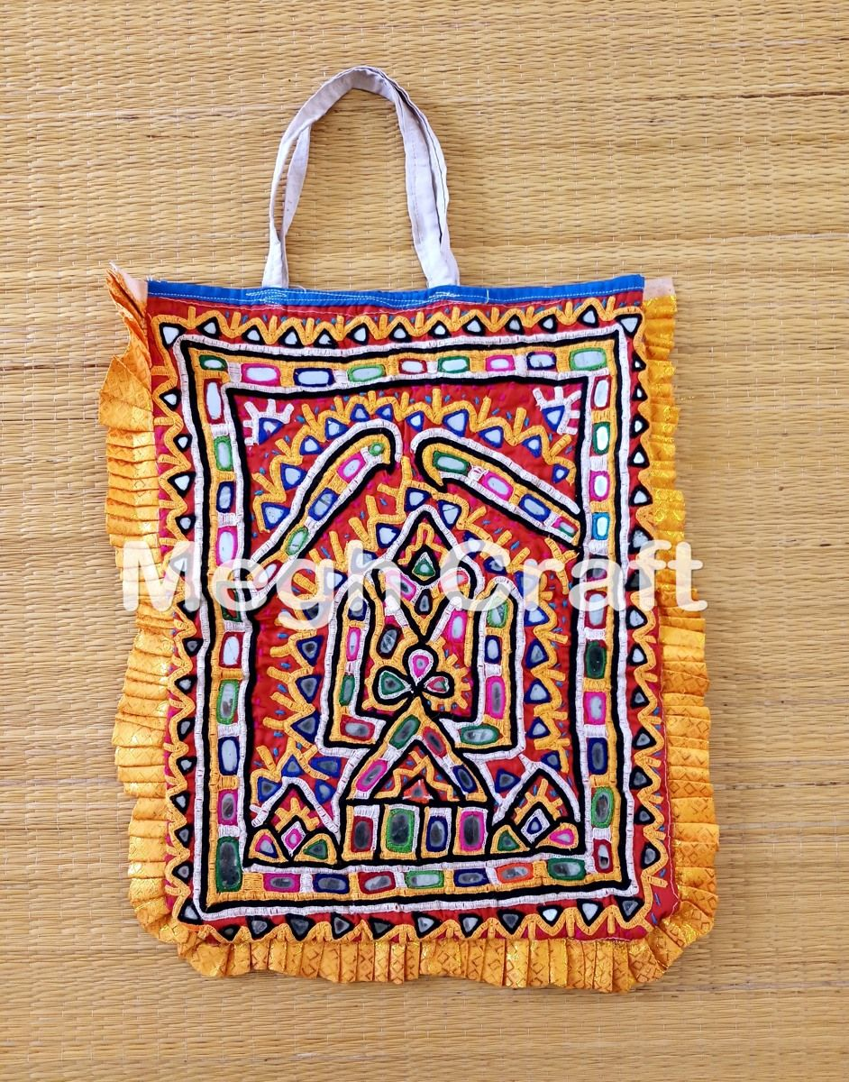 e54bd02c9452 Antique Mirror Embroidered Tote Bag- Hand Embroidery Bead And Mirror Theli  BAG