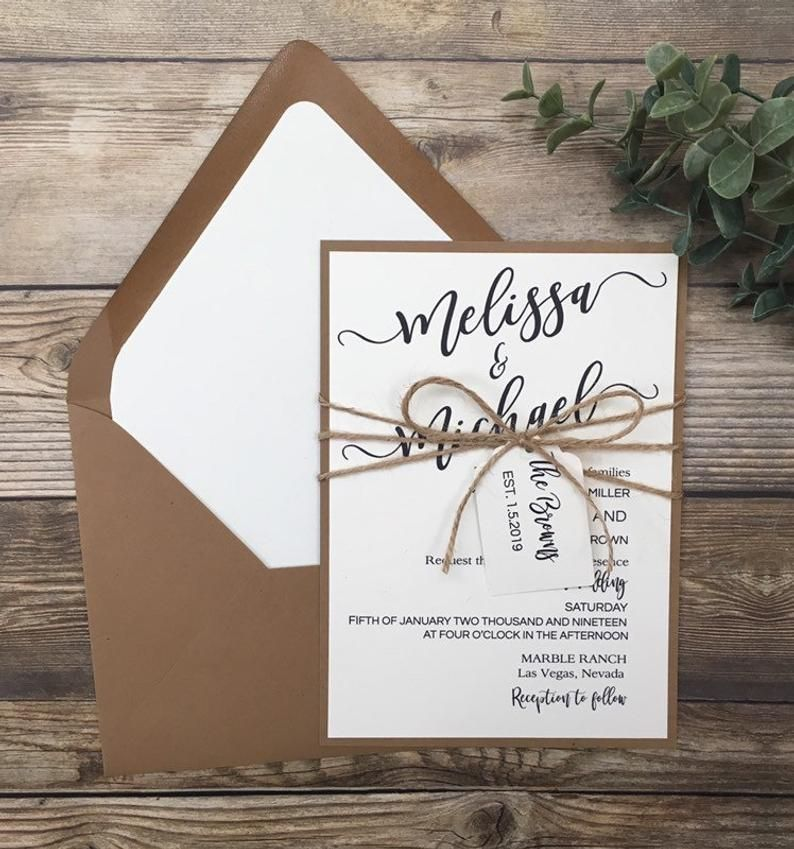 Rustic Wedding Invitation Wedding Invitation Kit Simple Etsy In 2020 Minimalist Wedding Invitations Kraft Wedding Invitations Country Wedding Invitations