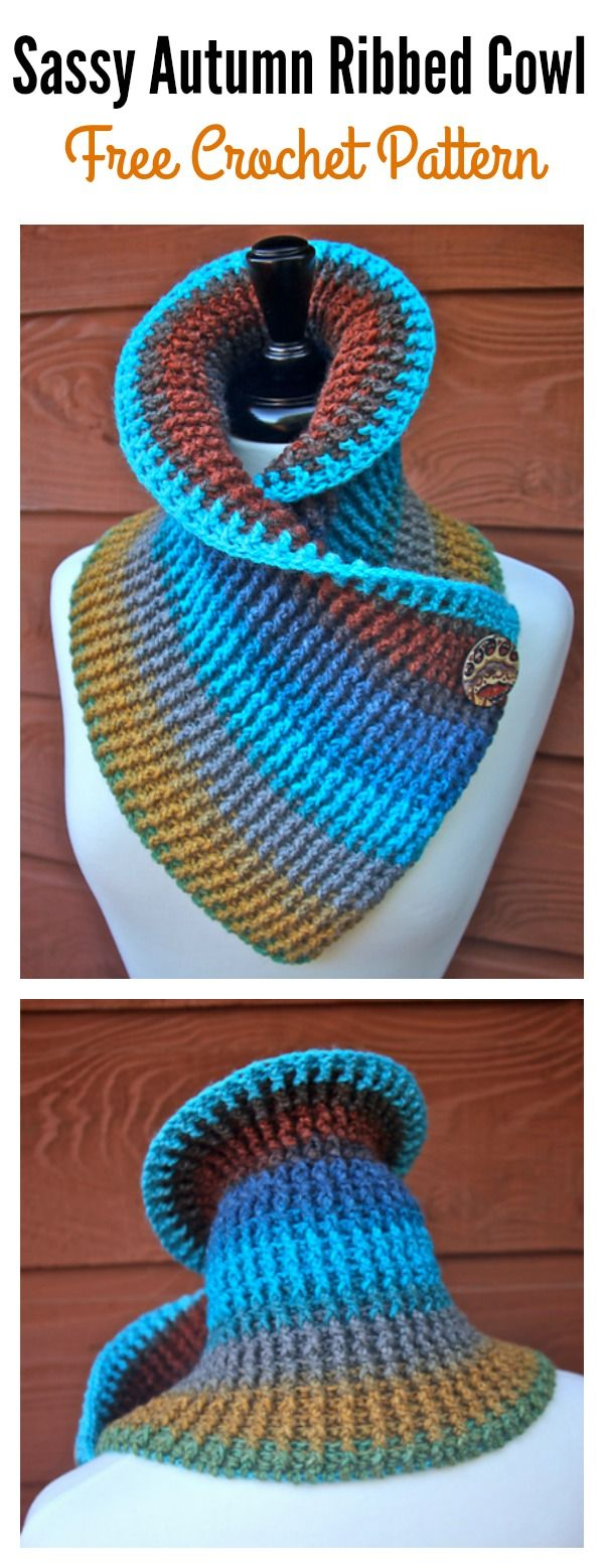 Sassy Autumn Ribbed Cowl Free Crochet Pattern for Beginner | Crochet ...