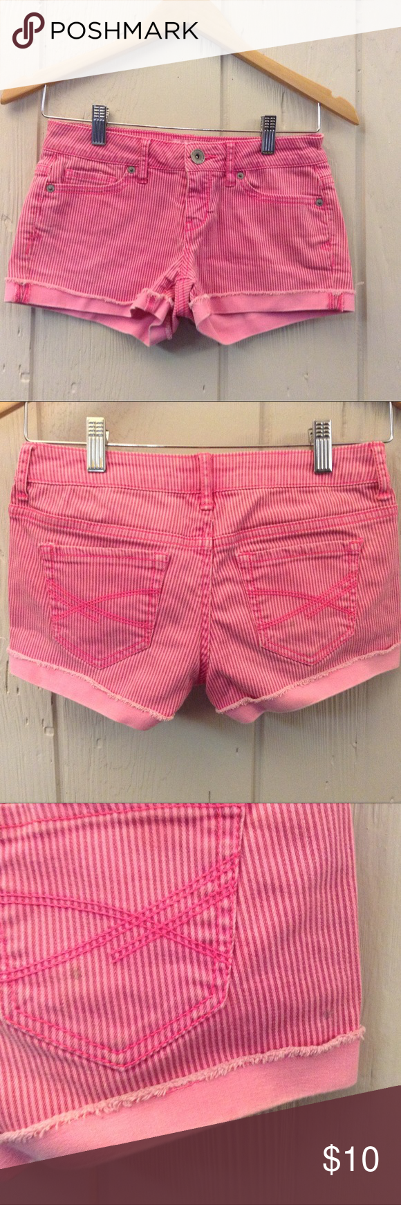 Aeropostale hot pink shorts Striped denim. Perfect for summer! Aeropostale Shorts