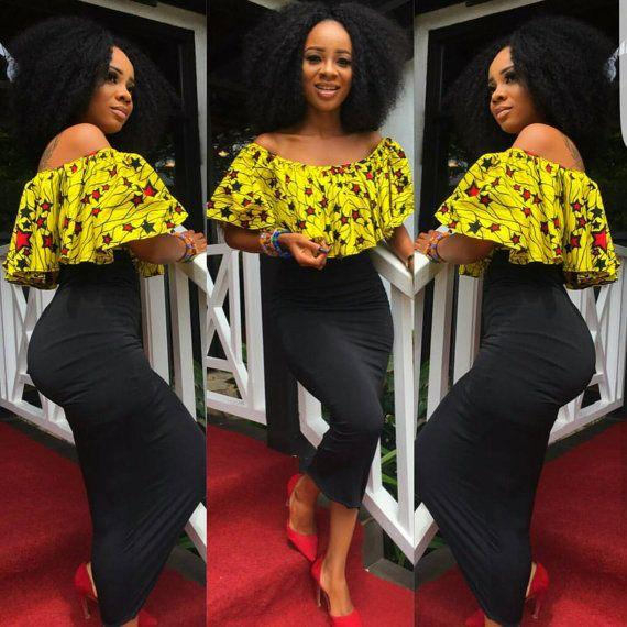 313b5cf55e9b7 African top African fabric ruffle off shoulder blouse by TrueFond ...