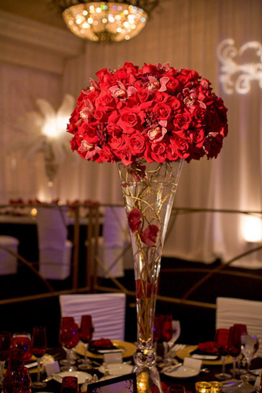 Wedding Topiary Ideas Part - 19: Red Rose Wedding Topiary Centerpiece For Vintage Glam Weddings
