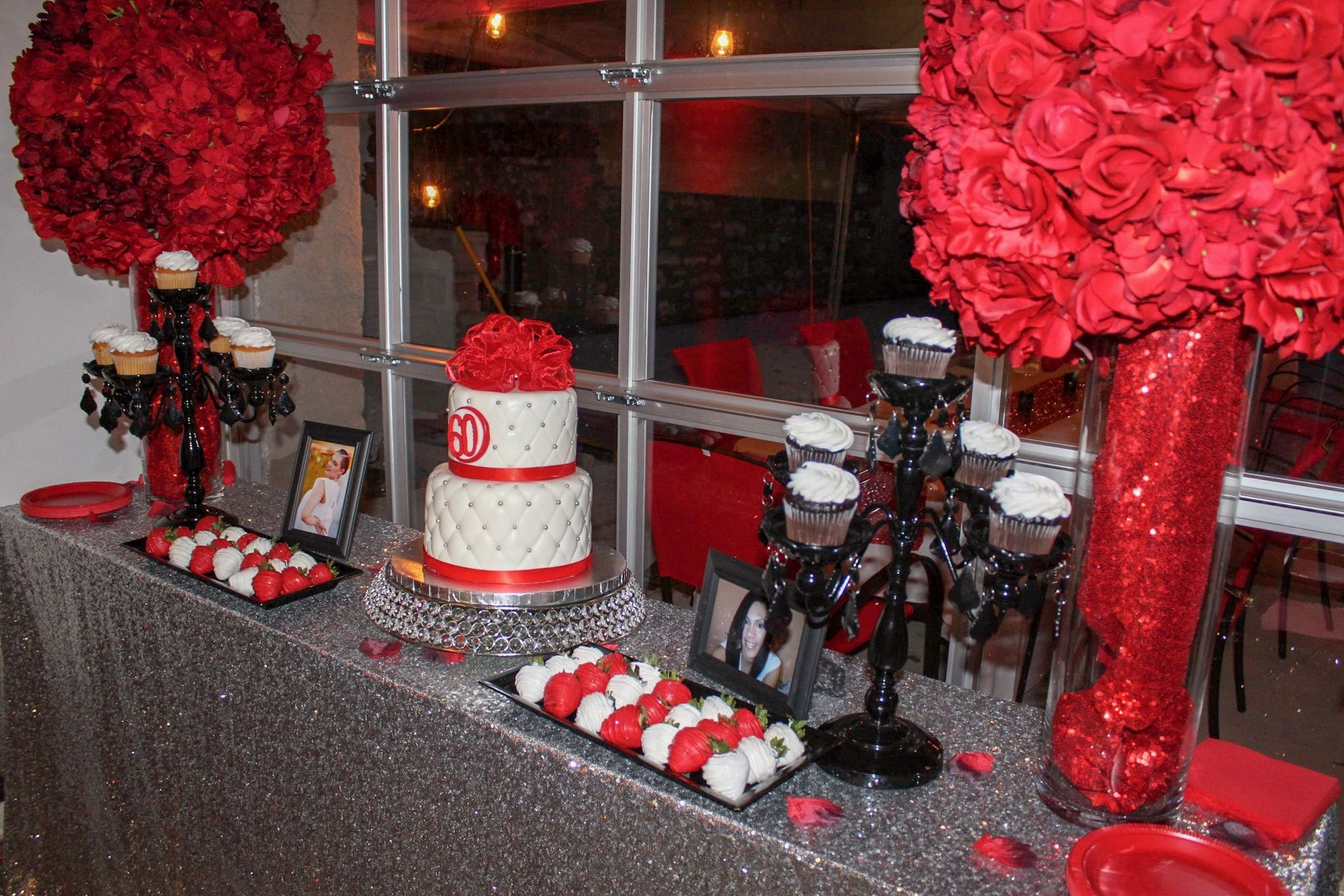Red Silver White And Black Treat Table Decor Table Decorations