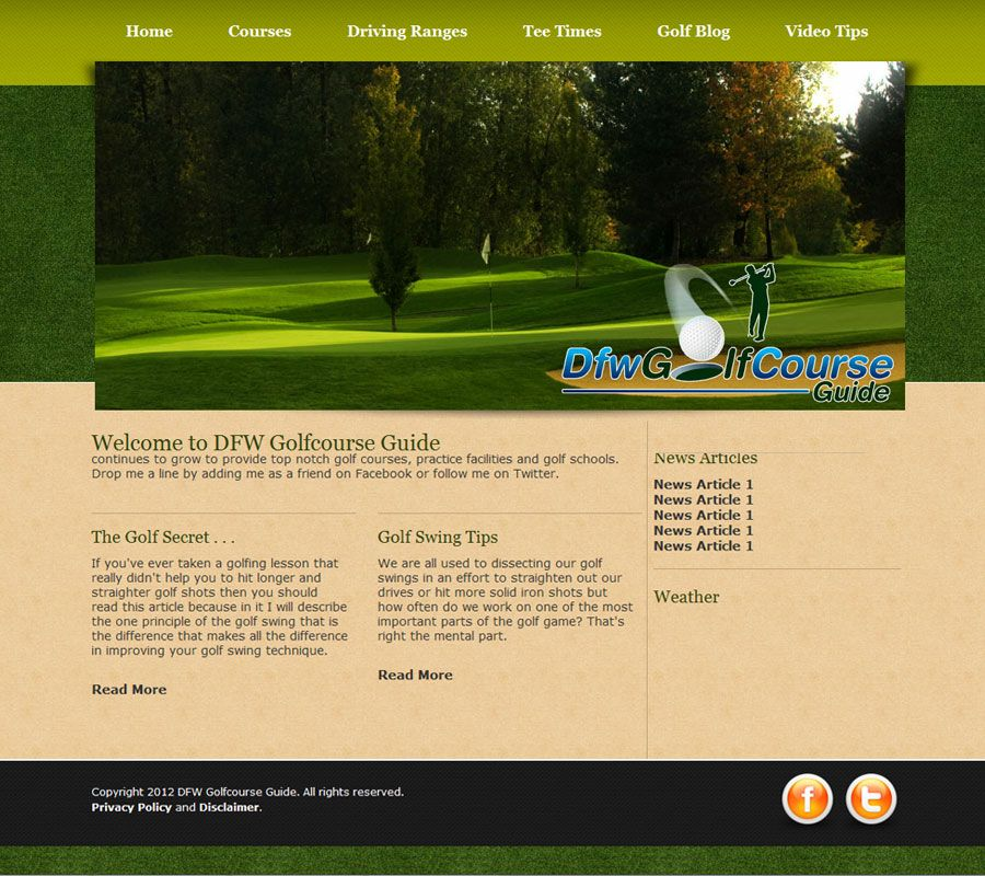 Golf course design provided for previous client. Golf