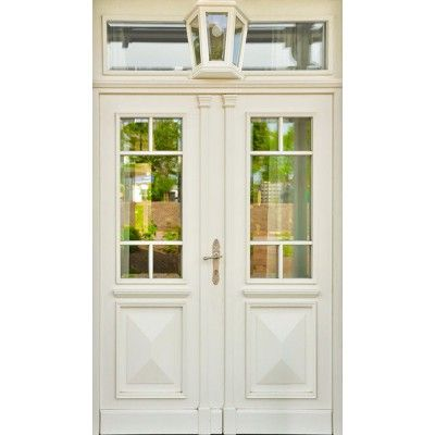 """Wooden front door entrance portal """"Flensburg"""" with lamp in the …"""