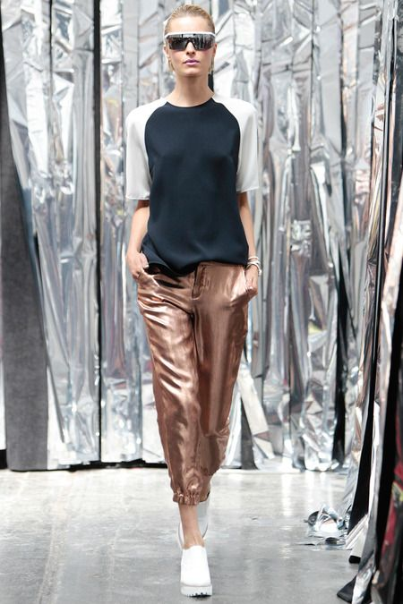 Assembly Spring 2014 | Style.com's Maya Singer says: Until today, I hadn't known I'd been waiting my whole life for bronze lamé pants.