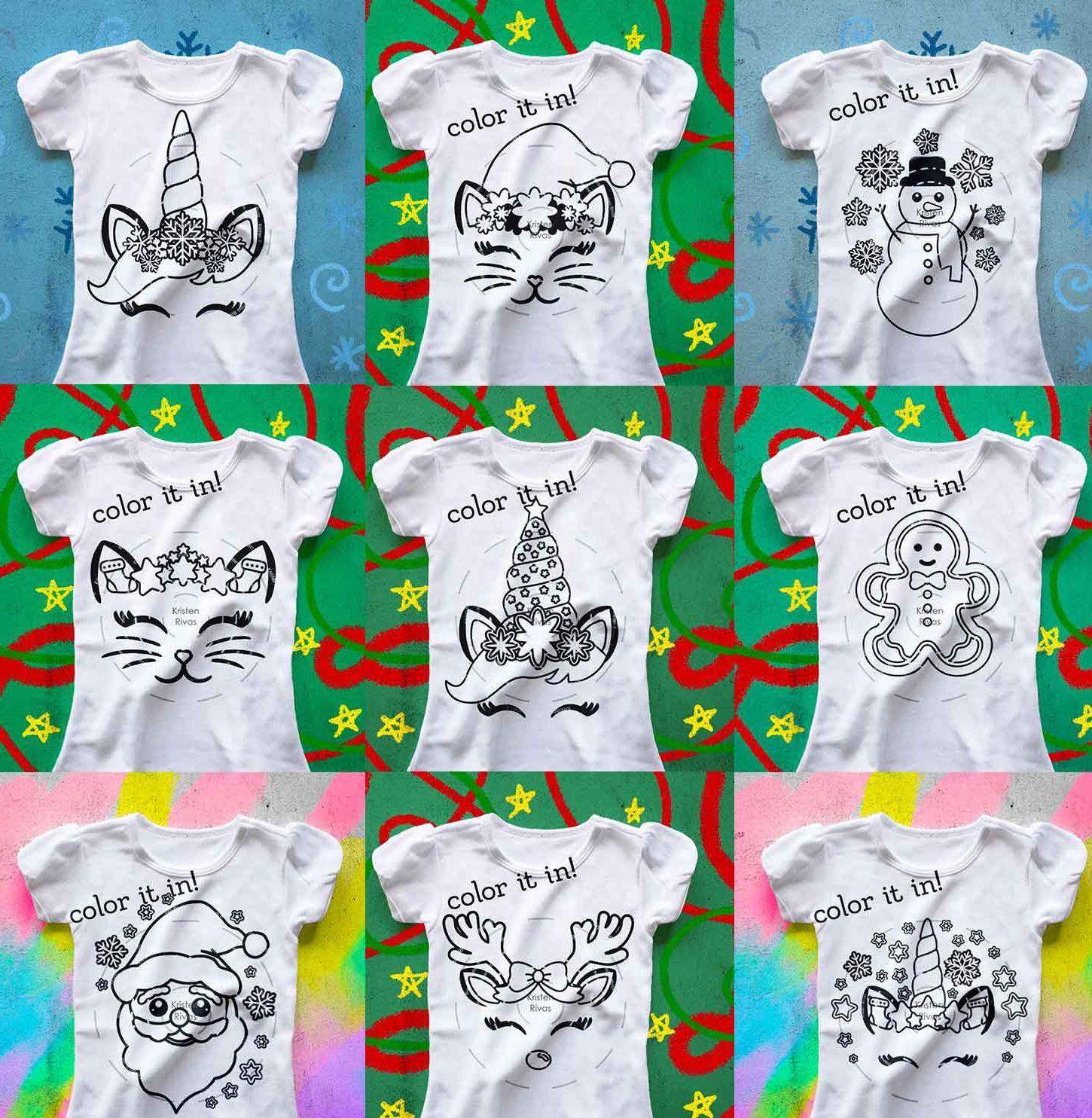 Christmas Coloring Book Bundle, Christmas Unicorn svg