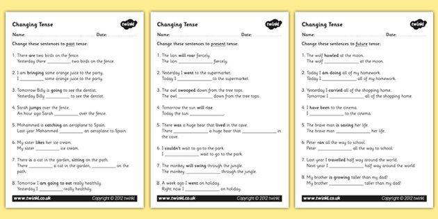 Changing Tense Worksheets - changing tense, past future present ...