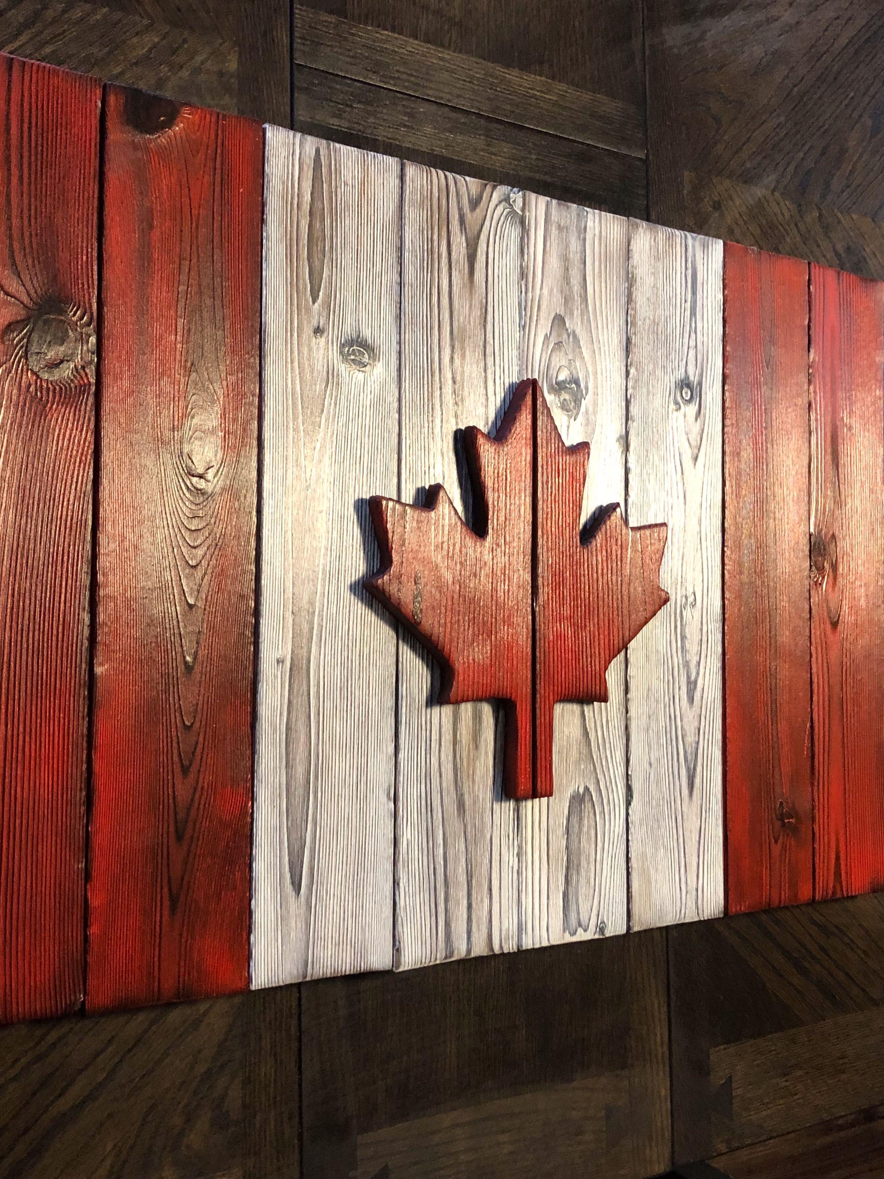 Canada flag wall art rustic canadian flag wood flag