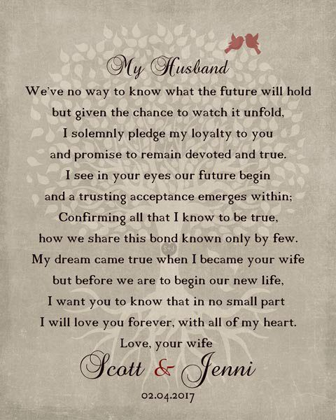 Husband Wedding Day Gift Love Poem