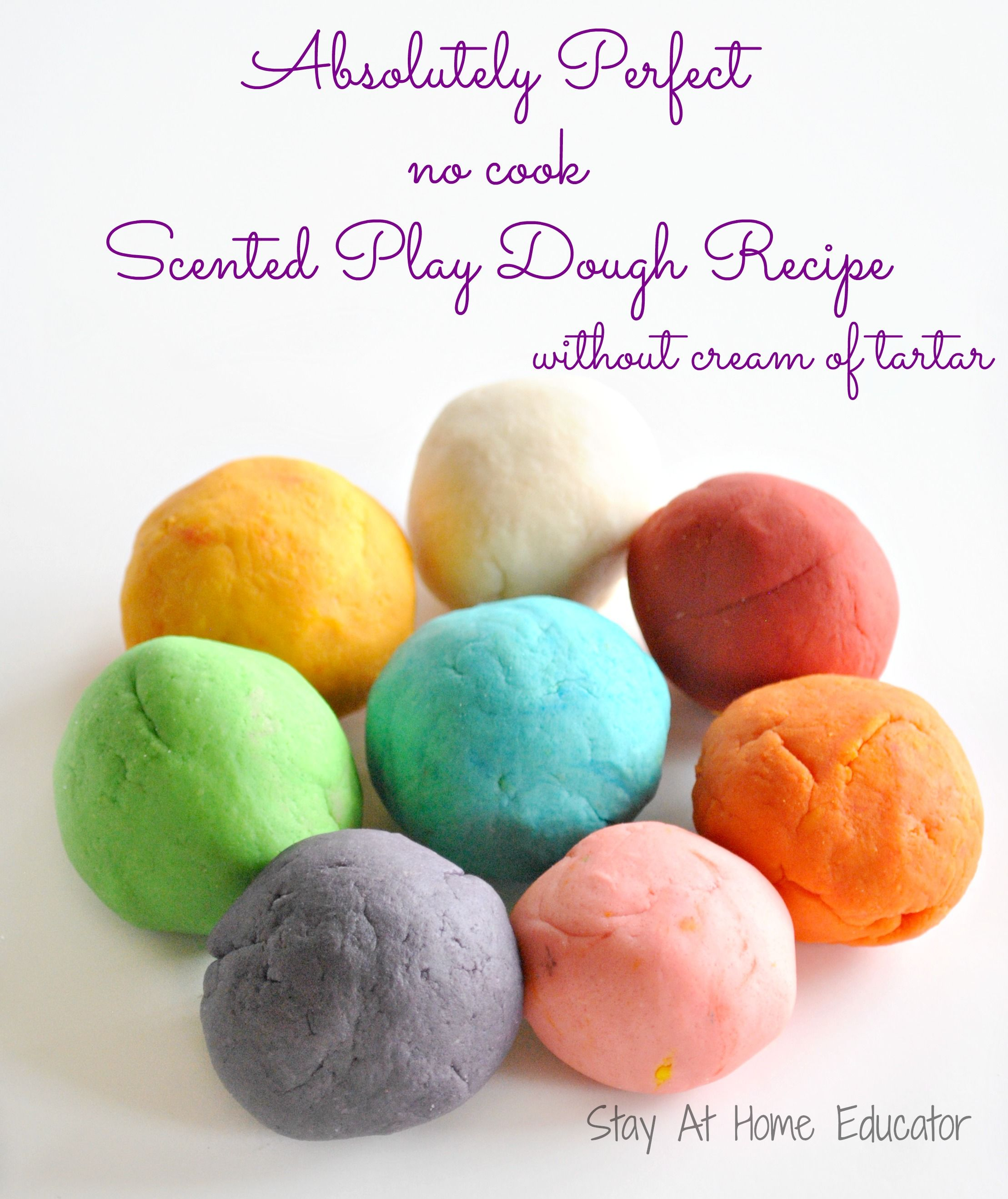 Scented NoCook Playdough Recipe without Cream of Tartar
