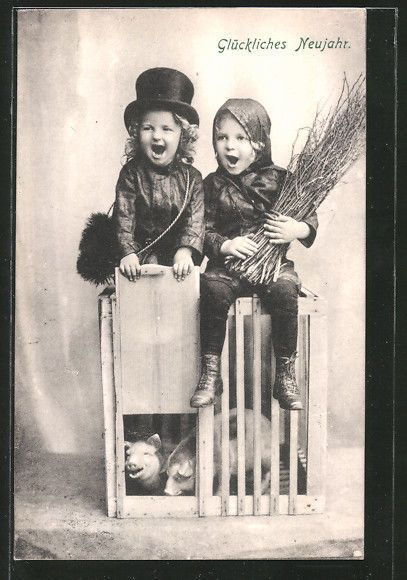 schöne AK Schornsteinfeger sitzen auf einem Käfig mit Ferkeln in Sammeln & Seltenes, Ansichtskarten, Motive | eBay