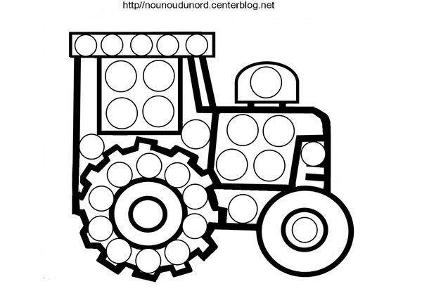 Coloriage Gommette A Imprimer Tracteur Gommett #2609