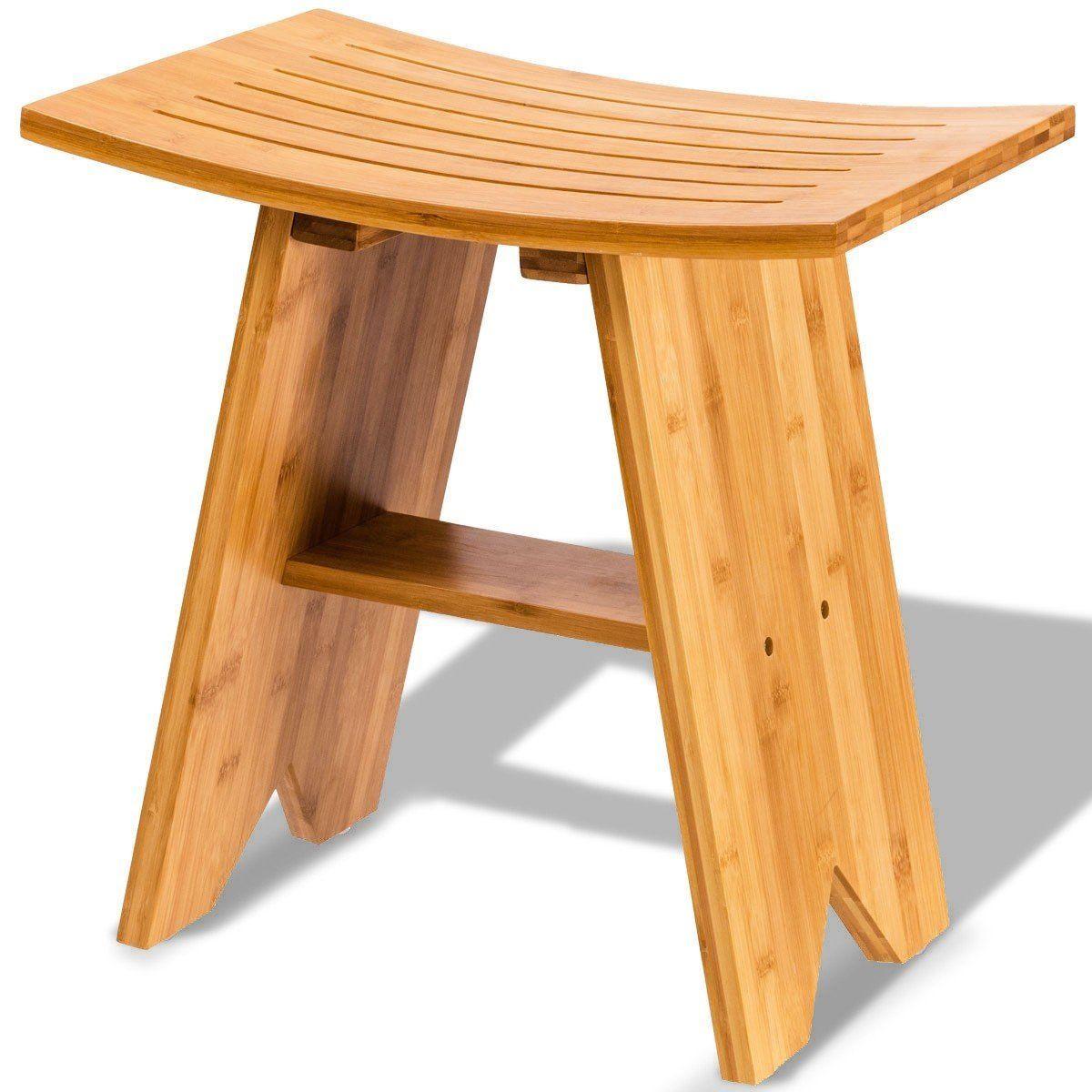 Terrific Spa Bench Wooden Bamboo Shower Stool With Shelf Storage No Theyellowbook Wood Chair Design Ideas Theyellowbookinfo