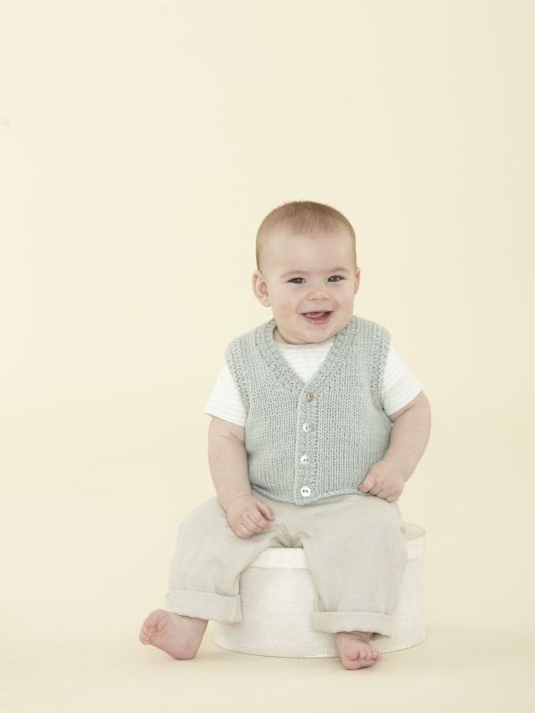 44695c7ea Baby button front vest knitting pattern in the First Sublime Evie pattern  book - get it
