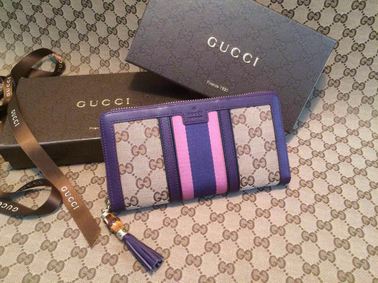 60bcf102a06e Gucci Rania Original GG Canvas Zip Around Wallet   Real Gucci Wallets